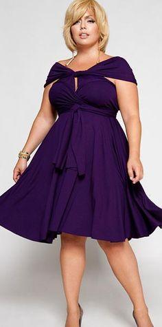Purple plus size dress. Stylish party dress. #PlusSizeDresses