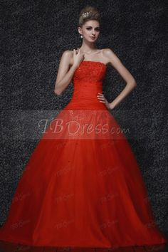 Gorgeous Ball Gown Strapless Long Dasha's Prom/Quinceanera Dress