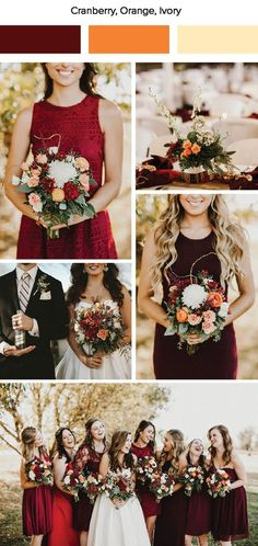 Fall Wedding Color Palettes cranberry orange ivory