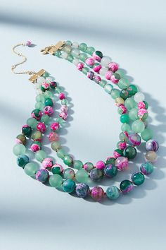 Ilona Marbled Necklace. Bright marbled beads add an exotic twist to this candy-coloured layering necklace.