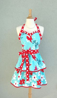 ruffled aprons | PDF Apron Pattern.....Flirty Sweetheart Double Ruffled Apron PDF ...