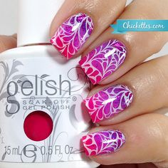 Stamped Summer gradient with UberChic Beauty nail stamp plates by Chickettes.com - nail art - nail stamp art - stamping nail art