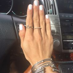 """Samantha Belbel: All white for June color is """"Alpine Snow"""" by OPI Gel (not pictured: the nail that I stained yellow with mustard) #onlyme#manimonday"""