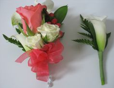 Mini white calla lilies, Amsterdam rose, mini ivory spray roses, coral hypericum berries, leather leaf, coral sheer ribbon corsage and boutonniere