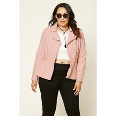 Forever 21 Plus Women's  Plus Size Quilted Moto Jacket ($38) ❤ liked on Polyvore featuring plus size women's fashion, plus size clothing, plus size outerwear, plus size jackets, plus size womens jackets, moto jacket, quilted biker jacket, pink biker jacket and pink jacket