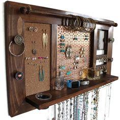 Ultimate AllinOne Jewlery Organizer Wooden Wall Hanging Jewelry