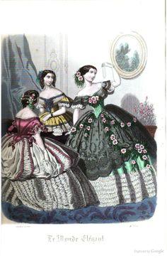 1850s Fashion, Edwardian Fashion, European Fashion, Vintage Fashion, Historical Costume, Historical Dress, Fashion Illustration Vintage, Second Empire, Fashion Plates