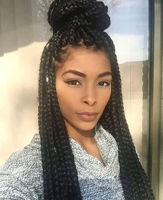 If you have long curly hair that braided, you can try this hairstyle that is easy to recreate and looks chic. Big Box Braids, Jumbo Braids, Human Braiding Hair, Curly Hair Styles, Natural Hair Styles, Best Virgin Hair, Braided Top Knots, Box Braids Hairstyles, Black Hairstyles