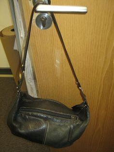Womens/Girls Black & Grey Leather Medium Size Bag  #sereta