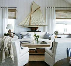 white canvas covers for a beach house - via Cote de Texas Beach Cottage Style, Coastal Cottage, Beach House Decor, Coastal Decor, Home Decor, Coastal Style, Coastal Homes, Coastal Living Rooms, Home And Living