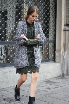 lace dress + chunky cardigan + boots