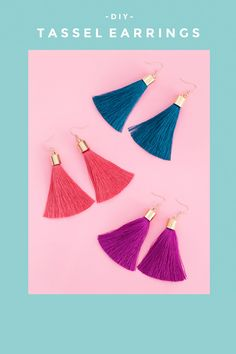 Make these DIY tassel earrings in 5 min! They are so simple to make and so adorable to wear, everything you could ever want in a DIY.