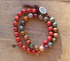 Boho wrap bracelet, leather bracelet -Tangier Tango - Bohemian jewelry, knot bracelet friendship bracelet Moroccan red, jasper stones, heart on Etsy, $55.00