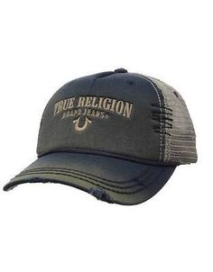 4b29937fa68 New true  religion  embroidery  distresses navy women men s trucker hat cap  tr 17
