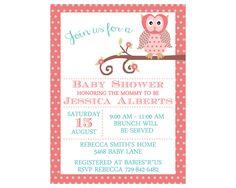 Baby Shower Invitation, Girl Baby Shower Invite, Owl Baby Shower Invitation, Coral & Mint Baby Shower Invitation, Flower Baby Shower Invite by DesignsAholic on Etsy https://www.etsy.com/listing/244031689/baby-shower-invitation-girl-baby-shower