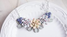 Succulent and blueberry necklace Flower necklace by imakeflowers