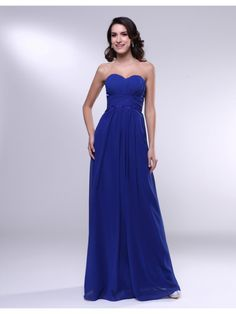 Chiffon Sheath Sweetheart Floor Length Pleats Bridesmaid Dress 	; $145.00
