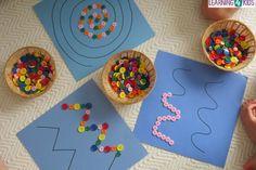 Creating patterns, swirls or zig-zags with buttons, children will have so much fun playing with this fine motor work station or learning centre activity. Children enjoy hands-on activities and the bright colours and buttons are so engaging and motivating for children. #finemotoractivityandideas