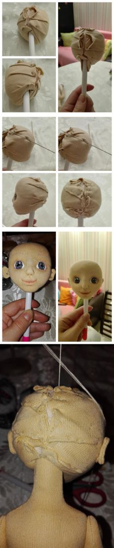 One of the easiest options for mounting the head textile doll - itself the magician