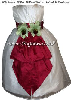 Antique White and Cranberry with Green Orchids - Flower Girl Dress Style 313 Red Flower Girl Dresses, Girls Dresses, Green Orchid, Cheap Flowers, Boys Suits, Custom Dresses, Orchids, Plus Size, Couture