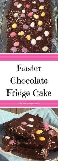 The Improving Cook- Easter Chocolate Fridge Cake recipe. This is similar to chocolate tiffin but has more nuts and Cadbury's Mini Eggs as an Easter treat. It's a great little no bake dessert. Chocolate Fridge Cake, Easter Chocolate, Chocolate Recipes, No Bake Desserts, Easy Desserts, Desserts Ostern, Cake Recipes, Dessert Recipes, Easter Treats
