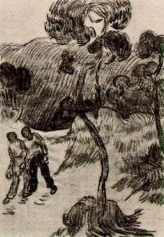 Two Men Walking in a Landscape with Trees by @artistvangogh #postimpressionism