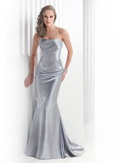 Abendkleider - $122.35 - Trompete/Meerjungfrau-Linie Trägerlos Sweep/Pinsel zug Charmeuse Abendkleid mit Rüschen Perlen verziert (0175055871)