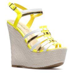 Neon Yellow.Silver Wedge Heels