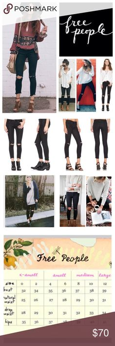 """Free People Black Destroyed Skinny Jeans.  NWT. Free People Black Destroyed Stretchy Skinny Jeans, 71% cotton, 28% polyester, 1% spandex, machine washable, 30"""" waist, 9"""" front rise, 13.5"""" back rise, 26"""" inseam, 11"""" leg opening, five pockets, zip fly button closure, stretchy, fitted, belt loops, frayed hemline, shredded holes and frayed knees lends a broken-in look to form fitting cropped jeans, measurements are approx. NO TRADES Free People Jeans Skinny"""