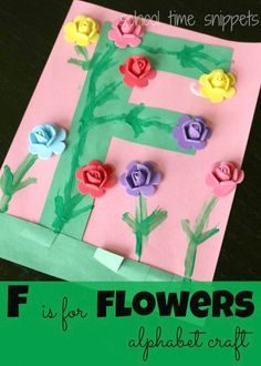 School Time Snippets: Perfect Spring/ Summer Alphabet Craft-- F is for Flowers! Pinned by SOS Inc. Resources. Follow all our boards at pinterest.com/sostherapy/ for therapy resources.