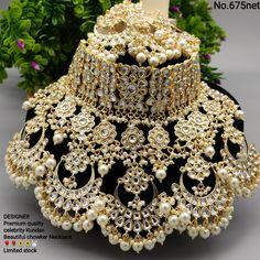 Beautiful high quality big size chandbali Polki kundan bridal wedding necklace with tika jewelry Unique design,Designer necklace jewelry by FashionofindiaShop on Etsy Pakistani Bridal Jewelry, Indian Bridal Jewelry Sets, Indian Jewelry Earrings, Fancy Jewellery, Antique Jewellery Designs, Wedding Jewelry Sets, Tika Jewelry, Royal Jewelry, Bling Jewelry