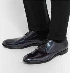 DOLCE & GABBANA Metallic Patent-Leather Derby Shoes £479.17
