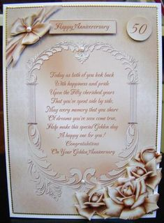 """Fifty Cherished Years Golden Wedding Anniversary Card on Craftsuprint designed by Lisa Baglietto - made by Helen Tullio - I attached the main picture to a 7 x 5"""" card blank and added the layers with foam pads. I added a gold border around the edge of the card. Finally I added pearls to the bow and frame of the verse. A truly elegant card. - Now available for download!"""