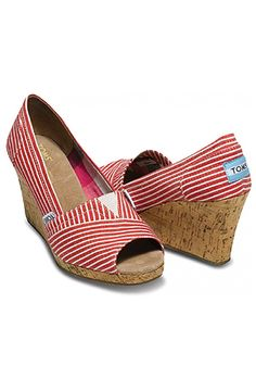 Available at ADANIAS Boutique in all sizes. Red Nautical Stripe Wedges Toms Shoes $69