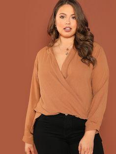 c56fb49282 Shop Surplice Neckline Long Sleeve Blouse online. SheIn offers Surplice  Neckline Long Sleeve Blouse &