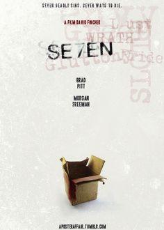 Se7en (1995)    Director: David Fincher    Brad Pitt, Morgan Freeman, Kevin Spacey, Gwyneth PAltrow Seven Movie, I Movie, Se7en 1995, Popcorn Times, 1990s Films, David Fincher, Best Movie Posters, Kevin Spacey