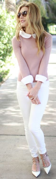 #street #style #womens #fashion #spring #outfitideas   Dusty Rose x White  Bird à la Mode