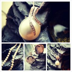Pearl inspired collage: Diamond pearl pendant; pearl strand; mother-of-pearls cufflinks; and small pearl drop pendant with diamond accent top. Price varies.