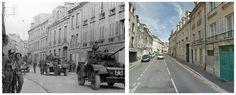 Veicoli Humber del 17 ° Duca di Royal Canadian ussari di York, unità di ricognizione della 3a Divisione di Fanteria canadese, procede per la Rue Caponière a Caen, #Normandia1944. 9 Luglio