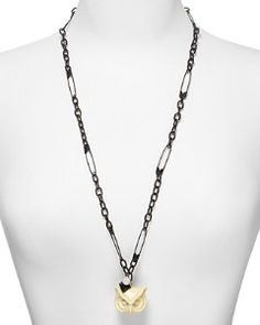 Marc Jacobs Charms Owl Pendant Necklace in Metallic Gold JUxsy792i