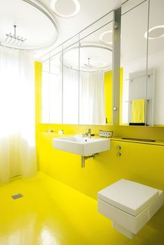 The Modern Yellow Bathroom Is Sure To Wake You Up In The Mornings