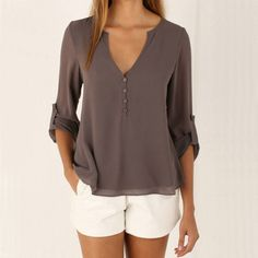 Long Sleeve Chiffon Blouse Shirt Fall Deep V Neck Buttoned Back High Low Asymmetric Loose Casual
