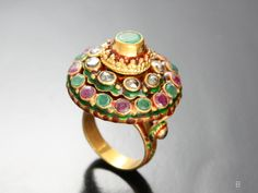 This is a Thai Princess Ring.  Not Solid gold.  Thai Antique Jewelry Gold Plate Enamel Ring    Gemwow