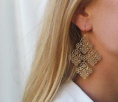Gold dangle earrings Gold earrings Statement by HLcollection