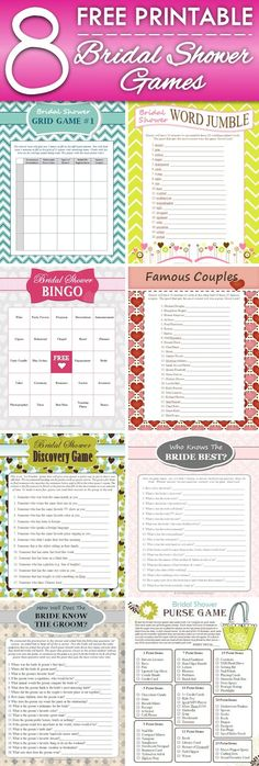 8 FREE Printable Bridal Shower Games - download some fun today!
