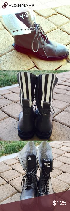 Y-3 high top boots ! Yes they are real . High top boots from creator Yohji Yamamoto . They do not fit me anymore so I have to let them go. Only worn twice . Like brand new .size 6 in men's and size 8 in women's . Shoes Combat & Moto Boots
