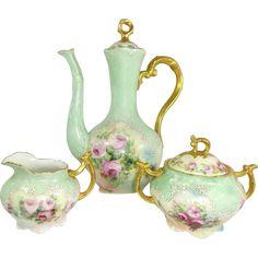 Limoges Tea Set TeaPot Sugar Creamer Hand Painted Pink Tea Roses -- found at www.rubylane.com #vintagebeginshere