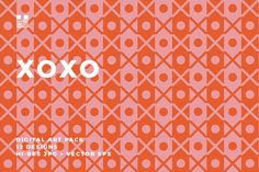XOXO is a geometric pattern set of simple Xs and Os made for Valentine's Day but could be applied to projects any time of the year. The patterns are bold with a modern style.