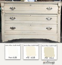 Layers of White - Annie Sloan Chalk Paint and Wax - Pure White, Old White, Old Ochre and Clear Wax - Colorways with Leslie Stocker Annie Sloan Chalk Paint Colors, Annie Sloan Painted Furniture, Annie Sloan Paints, White Chalk Paint, Chalk Paint Furniture, Distressed Furniture, Furniture Making, Diy Furniture, Furniture Refinishing