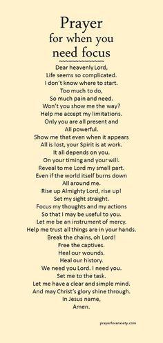 Prayer for focus
